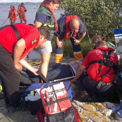 Sjöräddningsövning i Hitis skärgård