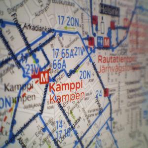 Kartta Kampin alueesta Helsingin keskustassa