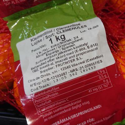 Klementiner i en påse.