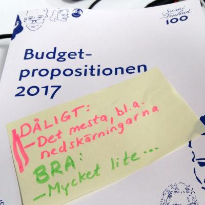 Budgetpropositionen för 2017.