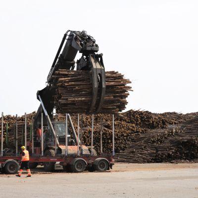 Puukuorman purkua Metsä Groupin Joutsenon tehtaalla