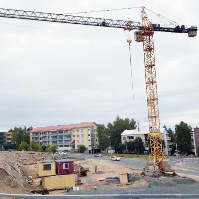 Rakennustyömaa Rovaniemellä.