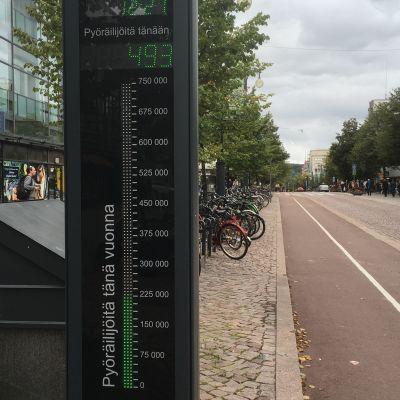 Pyöräilymittari Aleksanterinkadulla Lahdessa.