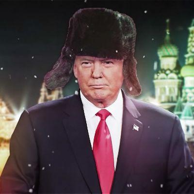 Our New President -elokuvan promokuva, Trump karvahatussa
