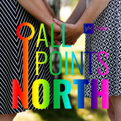 All Points North logo with photo of two women holding hands