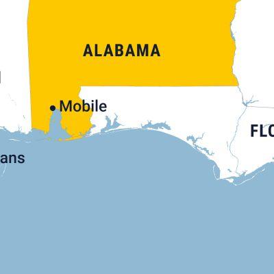Kuvassa on Alabaman kartta.