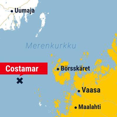 Kuvassa on kartta, jossa näkyy muun muassa Vaasa ja Merenkurkku.
