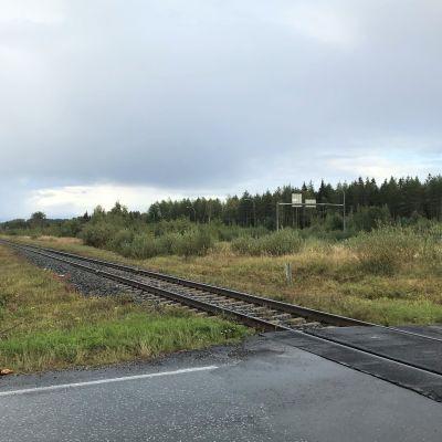 Puomein varustettu rautatien tasoristeys.
