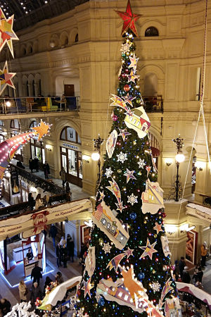 Julkommers i varuhuset Gum i Moskva