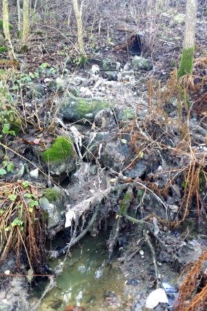 Ett avloppsrör som rinner ut i ett dike.