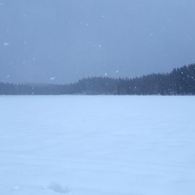 Räntää sataa järven jäällä.
