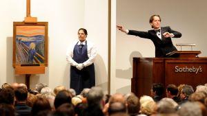 Edvard Munchs Skriet på auktion på Sotheby's i New York.