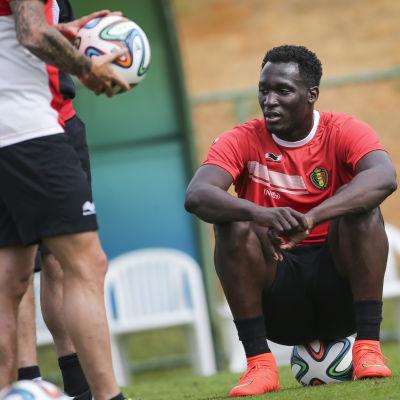 Romelu Lukaku på träningspass för Belgien.