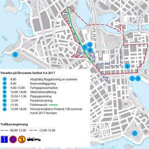 Karta över trafikarrangemang under Försvarets fanfest i Helsingfors 4 juni 2017