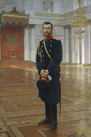 Ilja Repins porträtt av kejsar Alexander II i enkel soldatuniform men stående i Binterpalatsets magnifika sal.