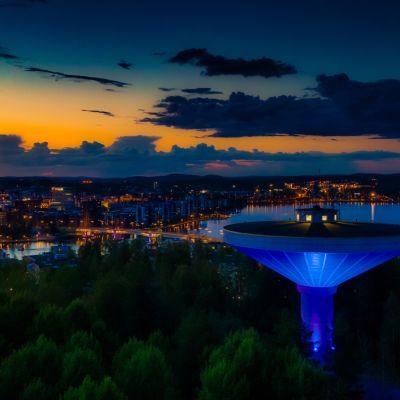 Kuokkalan vesitorni on Valon kaupunki Jyväskylän pysyvä valaistuskohde.