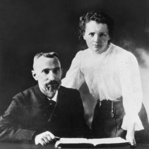 Pierre Curie och Marie Sklodowska Curie.