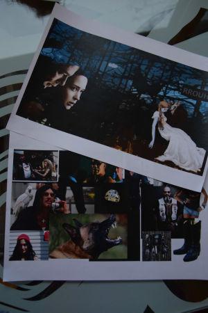 En moodpboard med bilder på en varg och en flicka i vit klänning.