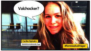 Cecilia Nyholm i grafik med hashtaggen femtioelvafrågor och pratbubbla med frågan Valchocker?