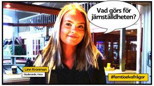 Studerande Linn kronman i vasa som serietidningssida med pratbubbla och texten Vad görs för jömställdheten?