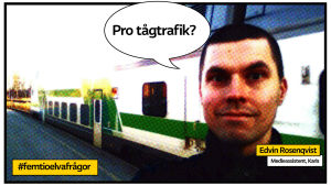 """Edvin Rosenqvist och pratbubbla """"Pro-tågtrafik?"""" framför ett tåg."""