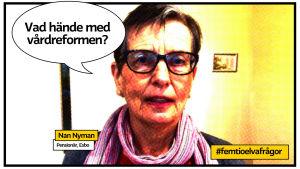 """Pensionär Nan Nyman i Esbo porträtt som serietdidningssida med pratbubbla och texten """"vad hände med vårdreformen?"""""""