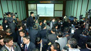 Nordkorea visade upp sitt rymdkontrollcenter den 11 april 2012.