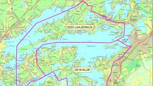 En karta över området där TBE-vaccin gavs gratis i Lojo 2019 respektive 2020.