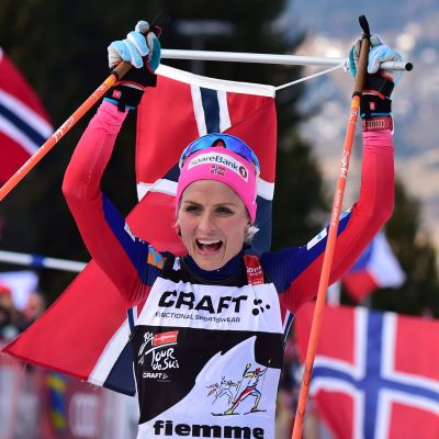 Therese Johaug celebrationg victory in Tour de Ski 2016.
