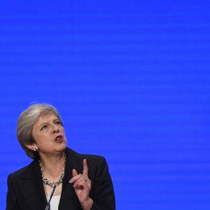 Premiärminister Theresa May under Tories partikongress i Birmingham.