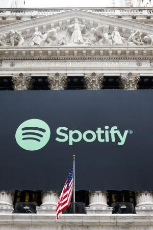 Spotifys logotyp pryder New Yorkbörsen.