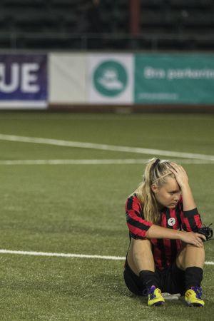 PK-35 Vantaas spelare deppar efter CL-matchen mot Rosengård 2015.