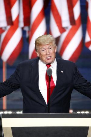 Republikanernas presidentkandidat Donald Trump den 21 Juli 2016.