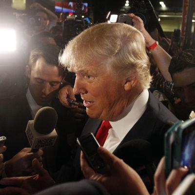 Donald Trump intervjuas efter en tv-debatt i augusti 2015.