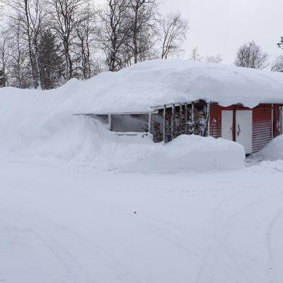Kittilän Pokassa lunta on eniten Suomessa ja se näkyy rakennusten katoilla