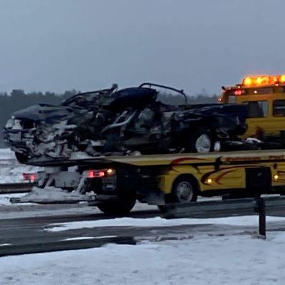 Kolarissa vaurioitunut henkilöauto 21.1.2021