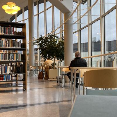Ett bibliotek och några kunder.