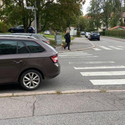 auto on pysäköity aivan suojatien eteen tien vasempaan laitaan niin, että auton perä on kohti suojatietä