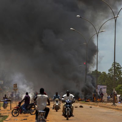 Ouagadougou den 17 september 2015 under en demonstration mot kuppmakarna.