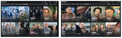 Kuvakaappaus kahdesta näkymästä Yle Areenaan, joissa ohjelmilla on erilaiset jakokuvat.