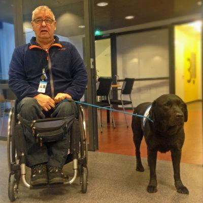 Pauli Ritola och hans assistenthund Aamu.
