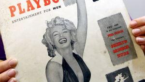 Marilyn Monroe på pärmen till det första numret av herrtidskriften Playboy 1953.