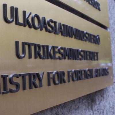 Skylt vid ingången till utrikesministeriet
