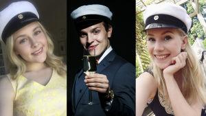 Uuden Päivän näyttelijät Valtteri Lehtinen, Fanni Suomi ja Amelie Blauberg ylioppilaslakki päässä.
