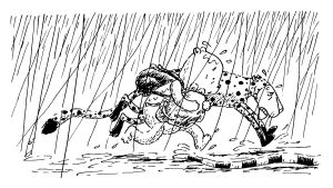 nagu-nalle i regn, teckning av Christel Rönns