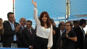 President Cristina Fernández de Kirchner víd öppnandet av en kärnanläggning i provinsen Buenos Aires den 18 februari 2015.