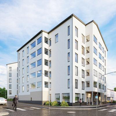 Visualisering av hur de nya husen i korsningen av Alexandersgatan, Sibeliusbulevarden och Vårbergavägen ska se ut.