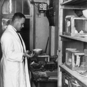Ragnar Granit tutkimuksensa äärellä vuonna 1928 kuvattuna.