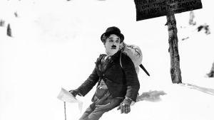Charles Chaplin hätääntyneen näköisenä lumihangessa elokuvassa Kultakuume.