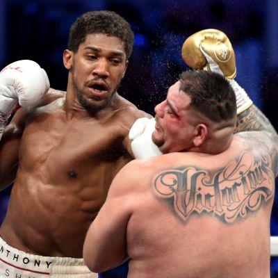Anthony Joshua boxar Andy Ruiz i ansiktet.